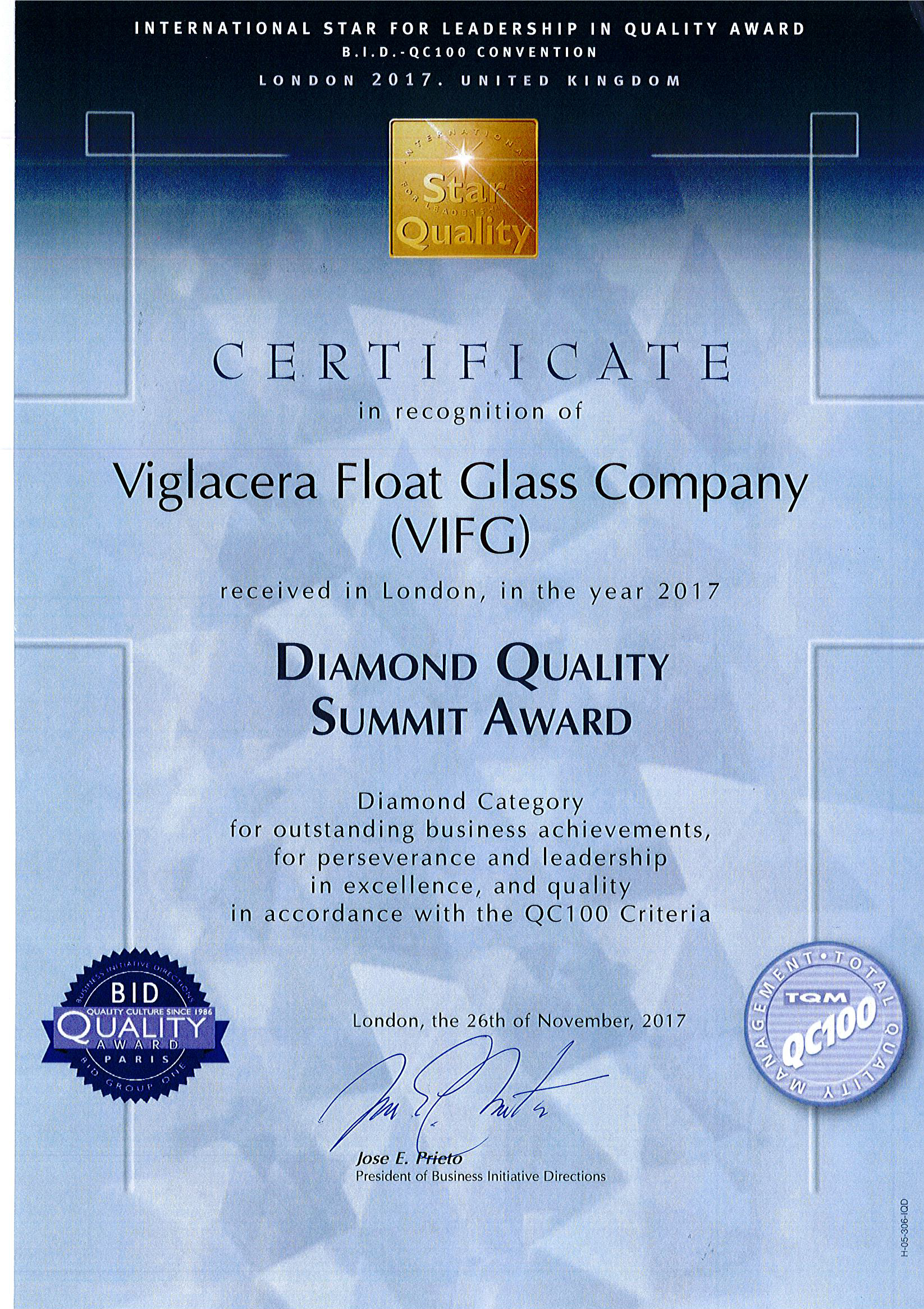 Diamond Quality Summit Award